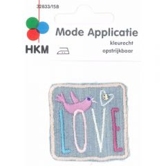 Applikation Love mit Vogel Jeans - 5 Stück