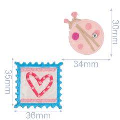Applikationen Briefmarke und Marienkäfer Set - 5 Sets