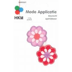 Applikationen Blümchen lila und rot 2 Stück - 5 Sets