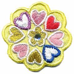 Applikation Blume gelb mit Herzchen - 5 Stück
