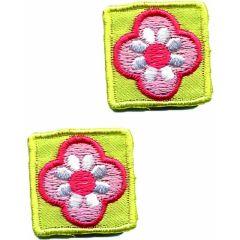 Applikationen Viereck gelb mit Blume Set 2 Stück - 5 Sets