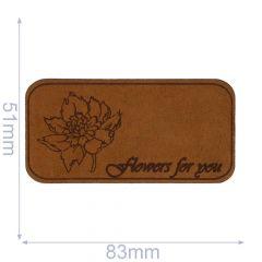 Applikation Flowers For You Leder gelasert - 5 Stück