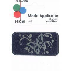 Applikation Schmetterling Jeans gelasert - 5 Stück
