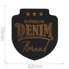 Applikation Superior Denim Leder gelasert - 5 Stück