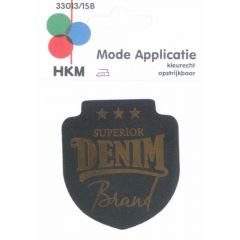 Applikation Superior Denim Leder gelasert - 5 Stück