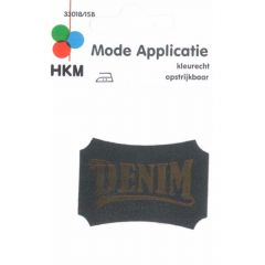 Applikation Denim Leder gelasert - 5 Stück