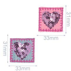 Applikationen Herzen mit Pailletten Set 2 Stück - 5 Sets