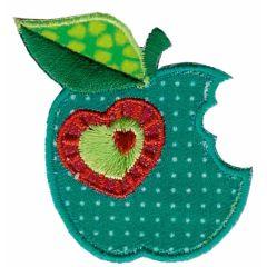 Applikation grüner Apfel mit Herz - 5 Stück