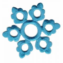 Applikation Schneeflocke groß blau - 5 Stück