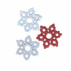 Applikationen Schneeflocken blau-braun/lila Set 3 Stück - 5 Sets