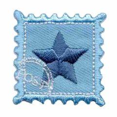 Applikation Stern auf Briefmarke - 5 Stück