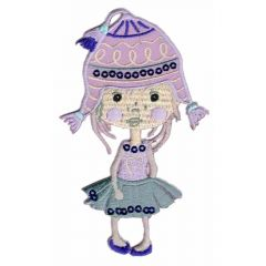 Iron-on patch girls with hats - 5pcs