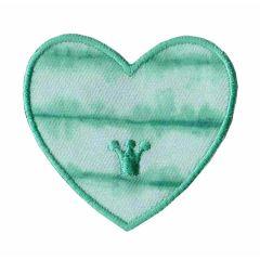 Applikation Herz grün/blau/lila - 5 Stück