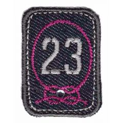 Applikation 23 grau-rosa - 5 Stück