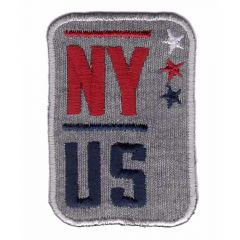 Applikation NY US grau-rot-blau - 5 Stück
