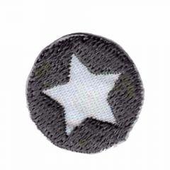 Applikation Button mit Stern grau - 5 Stück