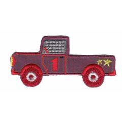 Applikation reflektierend Auto rot/blau mit gelbem Stern - 5 Stück