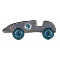 Applikation reflektierend Rennwagen grau grün/blau/rot - 5 Stück