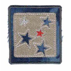 Applikation dunkel Jeans Viereck mit Sternen - 5 Stück