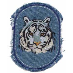 Applikation Jeans mit Tigerkopf - 5 Stück