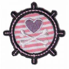 Applikation Steuerrad mit rosa Herz - 5 Stück