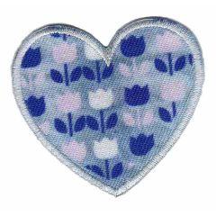 Applikation Herz mit Tulpen - 5 Stück