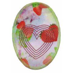 Applikation Oval mit Herz und Erdbeeren - 5 Stück