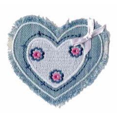 Applikation Herz Jeans mit Schleife - 5 Stück