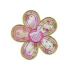 Applikation Blume mit rosa - 5 Stück