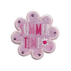 Applikation Blume rosa Jersey summer - 5 Stück