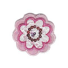 Applikation Blume weiß - 5 Stück