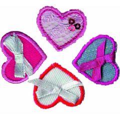Applikationen Set Herzchen mit Schleife 4 Stück - 5 Sets