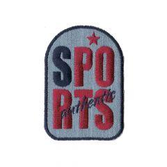 Applikation Sports rot auf jeans - 5 Stück