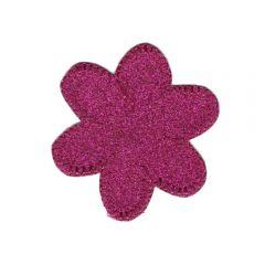 Applikation Blume Glitzer rosa - 5 Stück