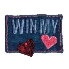 Applikation Win my heart groß - 5 Stück