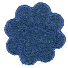 Applikation Blume blau (hell/dunkel) - 5 Stück