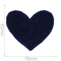 Applikation Herzchen blau - 5 Stück