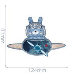 Applikation Hase in Flugzeug - 5 Stück