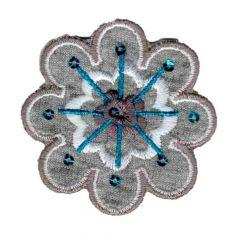 Applikation Blume braun mit verschiedene farben - 5 Stück