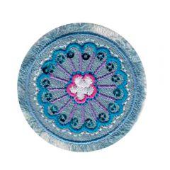 Applikation Blume Jeans blau - 5 Stück