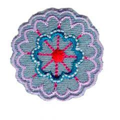 Applikation Blume Jeans rosa - 5 Stück