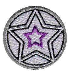 Applikation Button beige mit Sternen schwarz-lila - 5 Stück