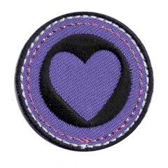 Applikation Herz lila-schwarz - 5 Stück