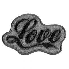 Applikation Love schwarz-grau - 5 Stück
