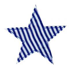 Applikation Stern blau gestreift - 5 Stück