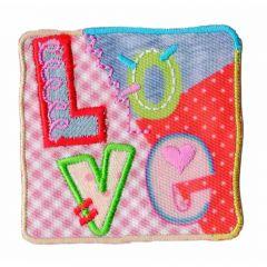 Applikation Viereck Love - 5 Stück
