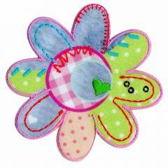 Applikation Blume Patchwork mit grün Herz - 5 Stück