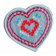 Applikation Herz klein Jeans - 5 Stück
