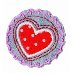 Applikation Button mit Herz rot und weißen Punkten - 5 Stück