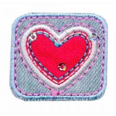 Applikation Rechteck mit rotem Herz - 5 Stück